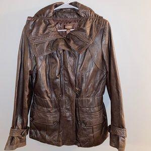 Dark Brown Genuine Leather Danier Jacket XS
